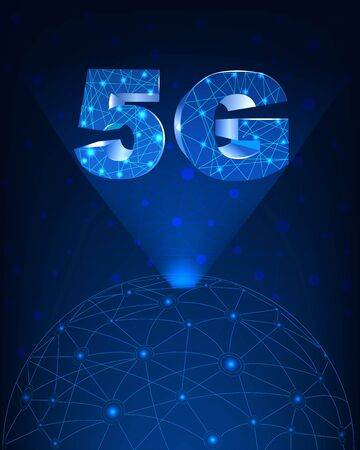 Internet networking concept and 5G technology.Network in background  with 5G.