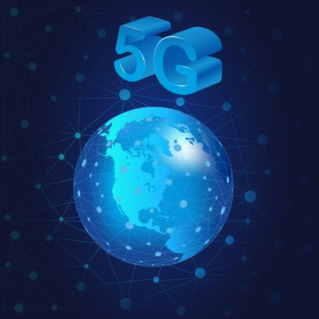 Concept of 5G internet connection technology.5G symbol communication network. Business technology