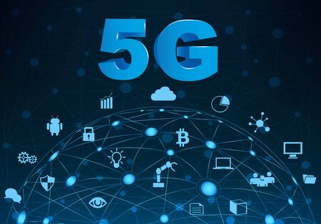 Internet networking concept and 5G technology.Network in background  with different icon and elements.Internet of things/Smart city and 5G technology Illustration