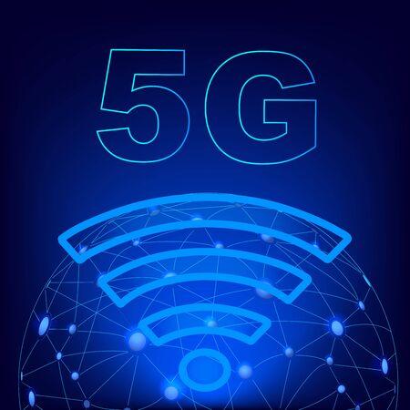 5G technology worldwide. 5G Global network concept.Worldwide information technology.Wireless  network and 5G Connection technology concept
