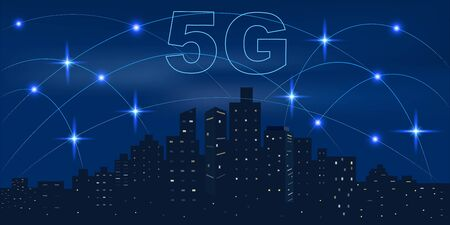 Wireless  network and 5G Connection technology concept in Smart city. Illustration