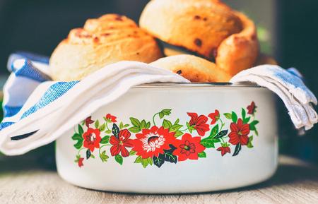 Baked breakfast rolls Stock Photo