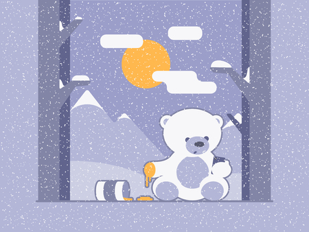 Bear read and send messages on the cellphone. Social media addicted. Winter card. Illustration