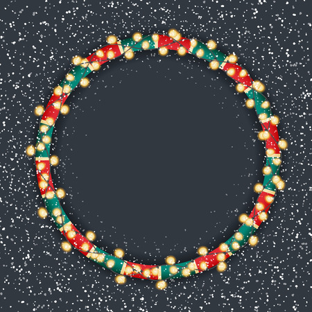 Glowing Christmas Lights Wreath for Xmas Holiday Greeting Cards Design.