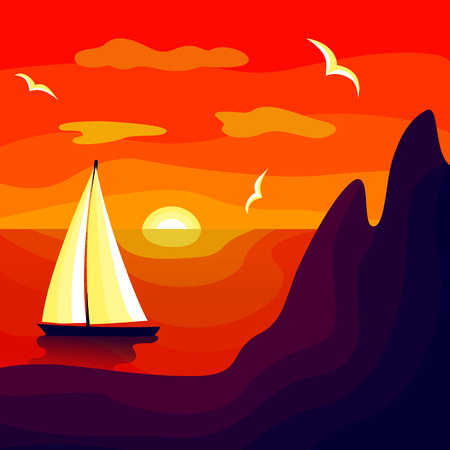 Sea voyage at sunset along the rocky shore  イラスト・ベクター素材