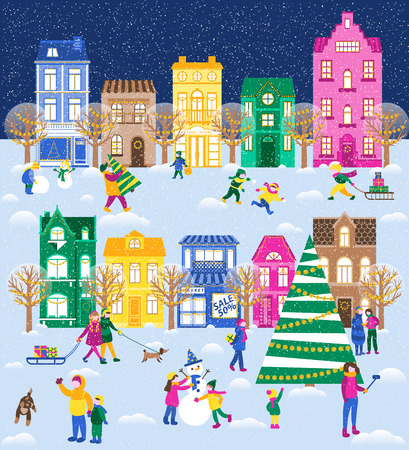 Large festive set with a winter city. People are preparing for Christmas. Children enjoy winter, sledding, make a snowman. Illustration