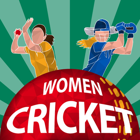 Batswoman and bowler playing cricket. Abstract poster for womens cricket. Vector illustration of female cricket.