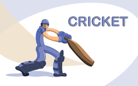 Batsman playing cricket. Stylized cricketer character for website design. Cricket championship. 일러스트