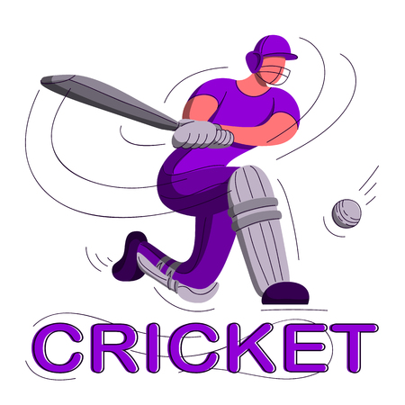 Batsman playing cricket. Stylized cricketer character for website design. Cricket championship. 矢量图像
