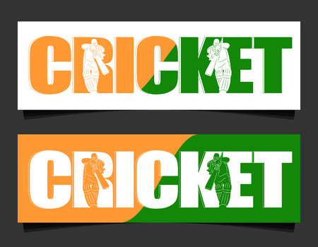 Batswoman playing cricket. Abstract poster for India womens cricket. Vector illustration of female cricket. Header designs.