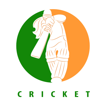 Batswoman playing cricket. Abstract poster for India womens cricket. Vector illustration of female cricket. Cricket competition logo.