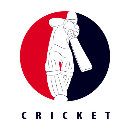 Batsman playing cricket. Cricket competition logo. Stylized cricketer character for website design. Cricket championship. Stock Illustratie
