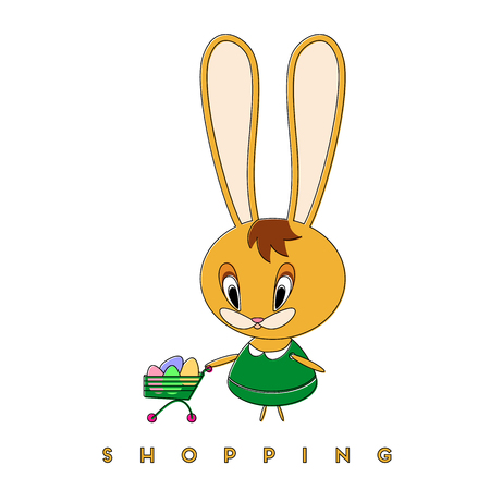 Rabbit buys Easter eggs. The Easter Bunny enjoys spring shopping and prepares for Easter. Vector illustration. 일러스트