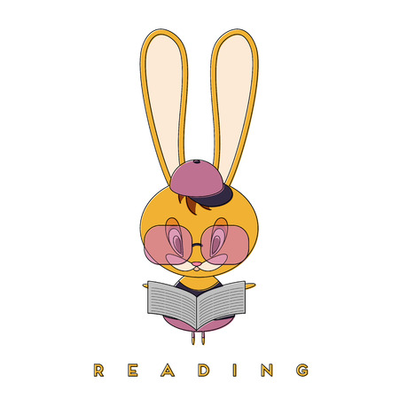 Rabbit reading a newspaper. The Easter Bunny is getting better in the spring and is studying the news. Vector illustration.