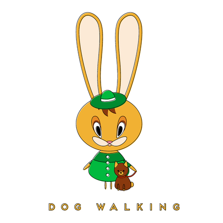 Rabbit walking a dog. Easter bunny enjoying a spring walk with a pet. Vector illustration. 일러스트