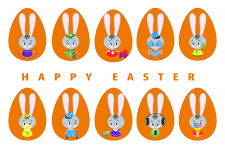 Big set of cute Easter bunnies in different poses. Spring fun for little rabbits.