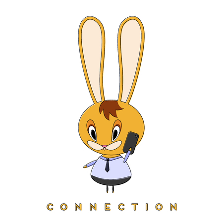Rabbit talking on the phone. The Easter Bunny enjoys a spring walk and talks with a friend. Vector illustration.