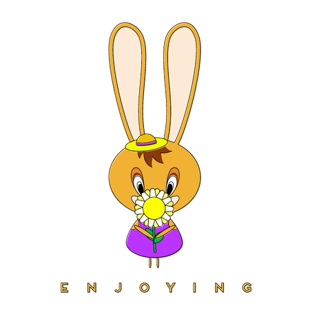 Rabbit carries a flower. Easter bunny enjoying spring flowers for a walk. Vector illustration.