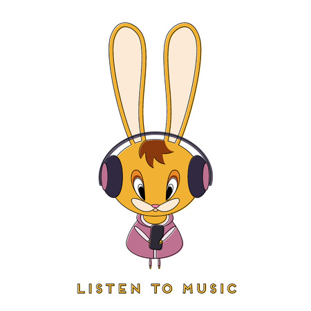 Rabbit listens to music. Easter bunny walks in the spring and enjoys the song in the headphones. Vector illustration. 일러스트
