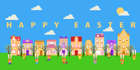 Easter bunnies celebrate Easter in a nice city. Spring street with flowering trees. 일러스트