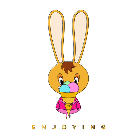 Rabbit eats ice cream. Easter bunny enjoying a spring walk. Vector illustration. Ilustração