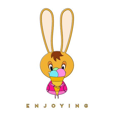 Rabbit eats ice cream. Easter bunny enjoying a spring walk. Vector illustration. Illustration
