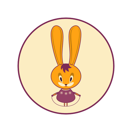 Rabbit jumps on a skipping rope. The Easter Bunny is getting better in the spring and playing sports. Vector illustration.