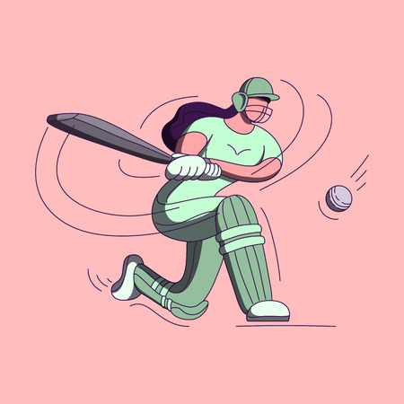 Batswoman playing cricket. Abstract poster for womens cricket. Vector illustration of female cricket.