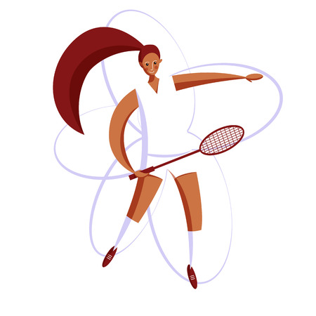 Female rocket sport. The girl plays badminton. Womens badminton team. Sportswoman in modern flat design on a white background for the site.