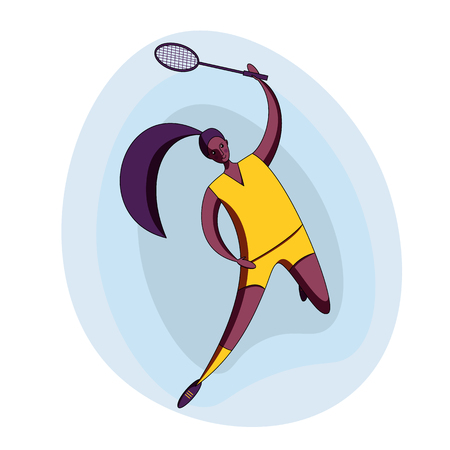 Female rocket sport. The girl plays badminton. Womens badminton team. Indian sportswoman in modern flat design.