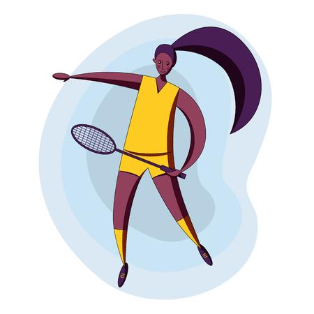 Female rocket sport. The girl plays badminton. Womens badminton team. Indian sportswoman in modern flat design.