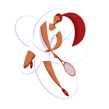 Female rocket sport. The girl plays tennis. Women's tennis team. Sportswoman in modern flat design on a white background for the site. Illustration
