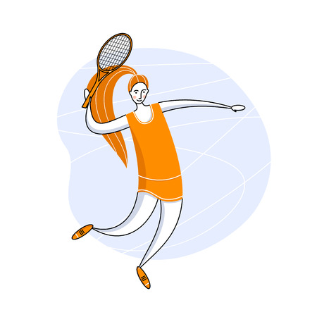 Female rocket sport. The girl plays tennis. Womens tennis team. Sportswoman in modern flat design.
