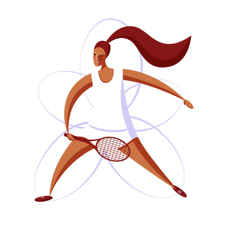 Female rocket sport. The girl plays tennis. Womens tennis team. Sportswoman in modern flat design on a white background for the site.