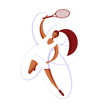 Female rocket sport. The girl plays tennis. Women's tennis team. Sportswoman in modern flat design on a white background for the site. 矢量图像