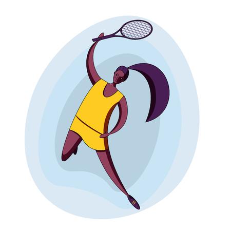 Female rocket sport. The girl plays tennis. Womens tennis team. African american sportswoman in modern flat design.