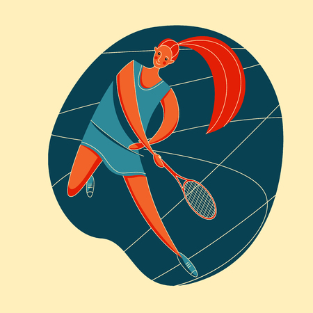 Female rocket sport. The girl plays tennis. Womens tennis team. Sportswoman in modern flat design in retro colors.