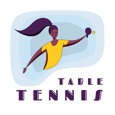 Female rocket sport. The girl plays table tennis.