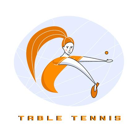 Sport razzo femminile. La ragazza gioca a ping pong.