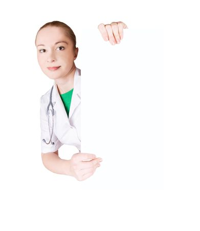 medical doctor and empty board Stock Photo - 4189521