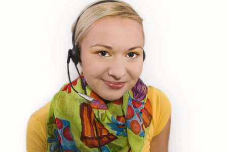 Hotline Operator With Headset Stock Photo - 4202037