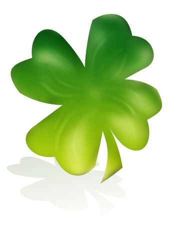 A single clover isolated on white. Perfect for use with Luck or St. Patrick's Day themes. Stock Photo - 4310137