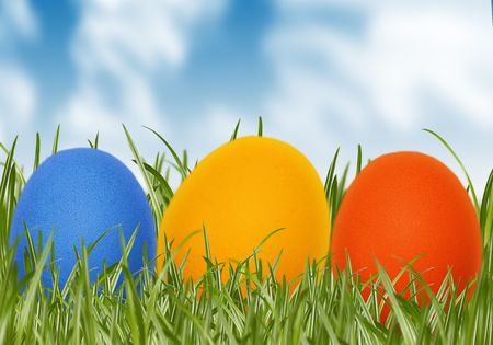 easter eggs in spring grass photo