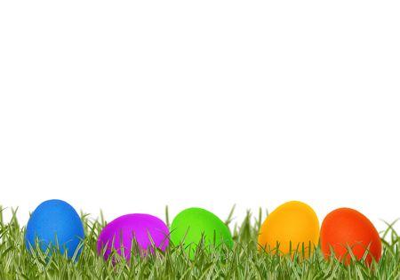Easter eggs in spring grass