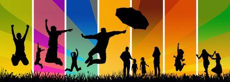 jumping people - illustration Stock Photo