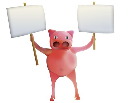 pig with empty banners in hands - illustration Stock Illustration - 4428045