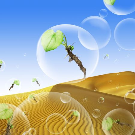 safe our planet concept - plants in bubbles and desert as a background photo