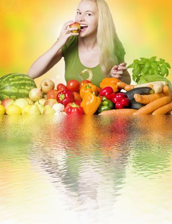 woman eating fruit - healthy diet