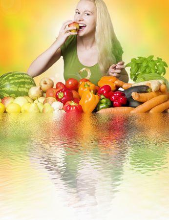woman eating fruit - healthy diet