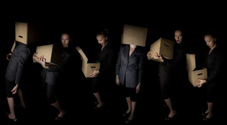 young frustrated businesswoman with paper box - six poses Stock Photo - 4922647